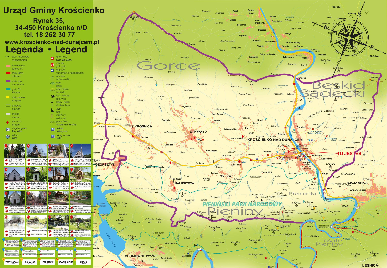 Mapa Pienin, Gorców i Beskidu Sądeckiego.